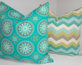 OUTDOOR Chevron & Medallion Pillow Covers Turquoise Blue Green Citrine Grey Outdoor Deck Patio Pillow 18x18