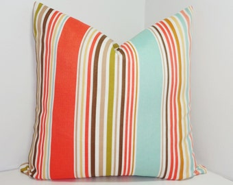 OUTDOOR Stripe Pillow Cover Blue Coral Tan Stripe Pillow Cover Deck Patio 18x18