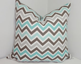 Decorative Pillow Cover Brown Blue Grey White Zig zag Chevron Pillow Covers All Sizes