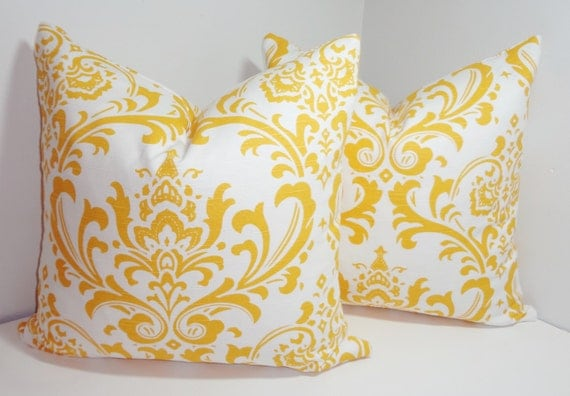 Two Decorative Pillow Covers Corn Yellow/White Damask Pillow Covers Throw Pillows 18x18