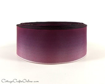 "Wired Ribbon 1 1/2"" Burgundy Purple Ombre, TEN YARD ROLL,  Light Plum Ombre Ribbon, Craft, Decor Wire  Edged Ribbon"