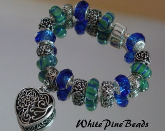 Blue and Green European Charm Bracelet Sapphire and Green Handmade Murano Glass Lampwork Beads by White Pine Beads