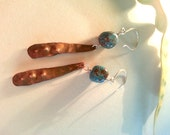 Long Hammered Copper Quartzite Bead Earrings