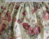 Laura Ashley Twin Single Bedskirt Dust Ruffle - Victoria Burgundy Cabbage Roses Floral - Shabby Chic Country Cottage - Dorm Room Bedding