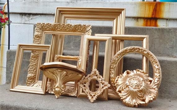 Large Gold Frame Mirror: Large Metallic Gold Ornate Picture Frame Set Mirror Shelf And