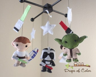Baby Mobile - Baby Crib Mobile - Star Wars Mobile - Nursery Star Wars Mobile - Darth Vader, Luke, Yoda, R2D2 - Spaceship Nursery