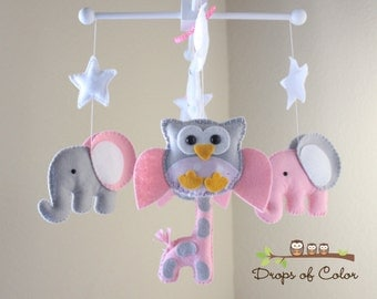 "Baby Crib Mobile - Baby Mobile - Nursery Owl Mobile - Elephant Mobile ""Baby Animals in the Night"" (You can pick your colors)"