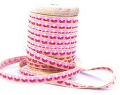 Woven Ribbon pink with toadstool, 1 cm width, 2 Meters (2.18 yard)