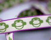 Woven Ribbon green Monkeys, 1 cm width, 2 Meters (2.18 yard)