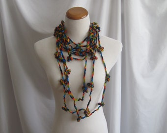 Infinity Crochet Necklace with Flowers - Bold Black, Green, Red, Yellow & Blue
