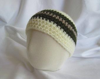 Baby Boy Skater Snowboard Skullie Skull Cap Winter Hat in Hunter Green and Tan Stripe - Newborn to 3 Months