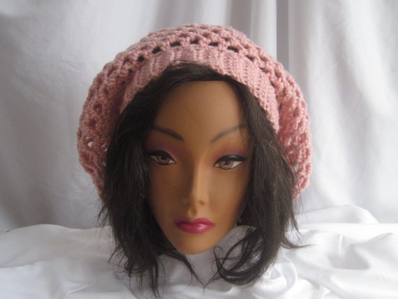 Hat Slouchy Hat Crochet - Lacy Open Weave - Pink
