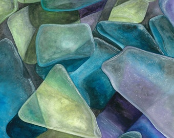 Cape Cod Sea Glass Study Number 1 -Watercolor by Damon Crook (print fitted for 11 x 14 frame)