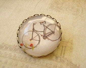 Photo Glass Cabochon Bike Brass Brooch 30mm BR-14