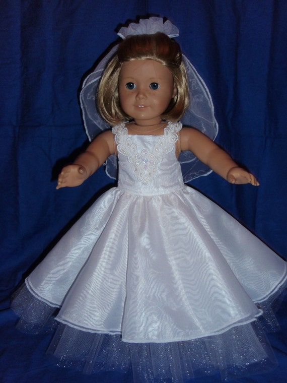 American girl or 18 inch doll wedding or first communion dress for American girl wedding dress