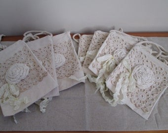 7 Bridesmaid's bags vintage doily canvas hand rolled fabric roses French seam binding across body bag hipster bag shabby vintage wedding