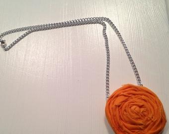 Spring Rosette Necklace Orange