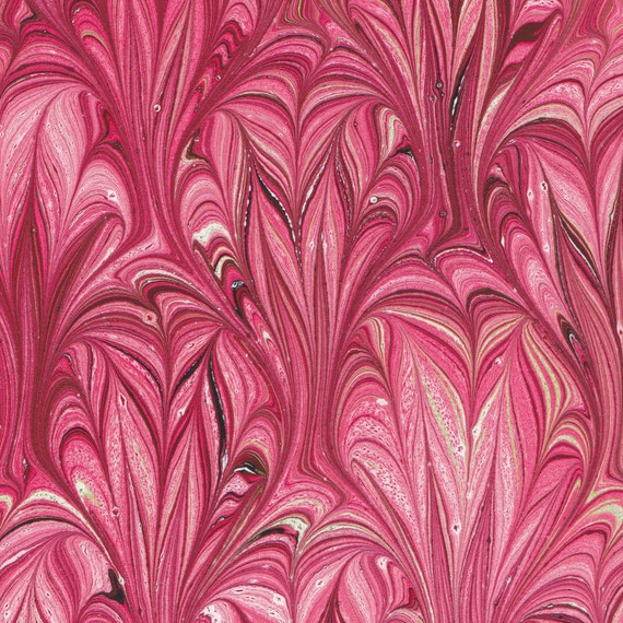 Marbled Paper, handmade 9x12in, red Thistle pattern