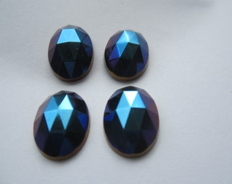 Czech 18x13mm Iris Blue Rauten Roses Faceted Glass Cabs 4Pcs.