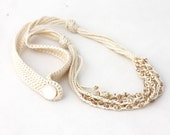 Off white and champagne necklace Natural jewelry Multi strand crochet beaded necklace Gift for her