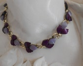 Vintage lucite choker necklace dark light purple with gold accents adjustable length closure