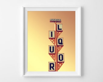 "Retro Sign Photograph Unframed / vintage liquor print kitchen bar / whimsical leucadia california / photography print / ""Screwdriver Orange"""