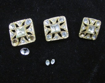 3 Vintage Rhinestone Buttons