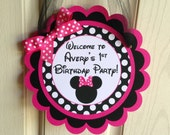 Minnie Mouse Birthday Party Door Sign in Hot Pink and Polka Dot