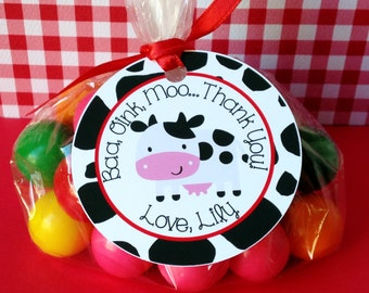 Farm Barnyard Bash Birthday Party Personalized Favor Tags, Thank You Tags, Treat Tags, Goody Bag,  Party Favors, Decorations, Set of 12