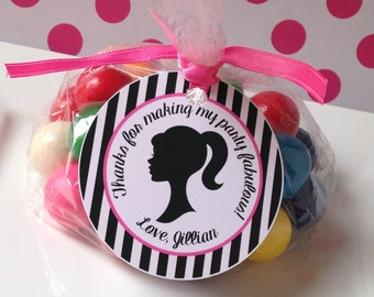 Glamour Girl Birthday Party Personalized Favor Tags, Thank You Tags, Treat Tags, Goody Bags,  Party Favors, Party Decorations, Set of 12