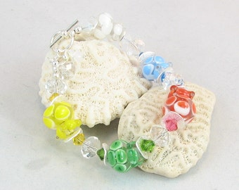 I CAN SEE Clearly Now!  Beautiful Artisan Lampwork and Faceted Crystal Beaded Bracelet