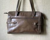 Shoulder Bag taupe brown leather satchel style purse vintage 70s 80s leather handbag hipster high fashion