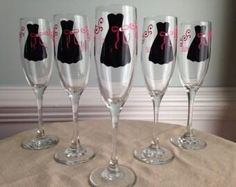 6 Personalized  Bride and Bridesmaid Champagne Glasses w/ Rhinestone Embellishment