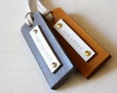 Gold/Silver Leather Name Tag - (Set of 2)  - Perfect Gift for Birthday, Wedding or Anniversary
