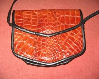 VINTAGE FAUX CROCODILE Leather Shoulder Bag 1980's