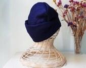 Warm fabric hat in intense cobalt blue.