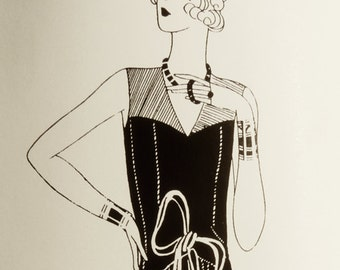 Vintage 1920s sewing pattern. Joyful dress for special occasion