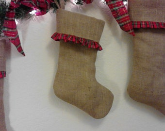 Christmas Stocking with Plaid Ruffle on Smaller Burlap Stocking for Baby, Child  or Pet - Fully Lined