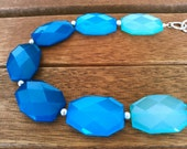 Cobalt Blue and Sea Blue and Turquoise Aqua Blue Strand Statement Necklace - Chunky Blue Necklace - Blue Statement Necklace