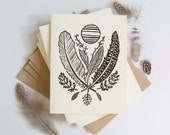 Feather, Leaf, and Moon stationery pack, block print cards, black and white