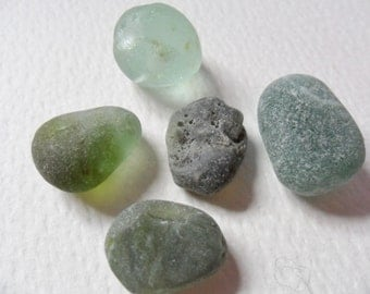 Mixed green and seafoam shades of English sea glass - 5 beach find pieces