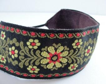 Headband floral  jacquard head band flower trim women hair accessory
