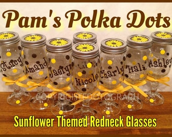 Personalized REDNECK WINE GLASS with Sunflower Name, Initial or Monogram and Polka Dots in Yellow & Brown