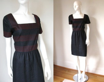 Vintage 1980s Miss O Oscar de la Renta Black Linen Short Sleeve Dress with Red Stitching Detail and Square Neckline
