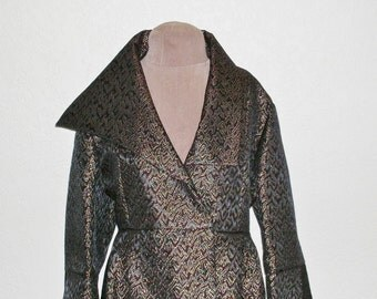 Marked Down! Sensational Evening Coat of Metallic Brocade in Black, Maroon and Gold Size Medium to Large