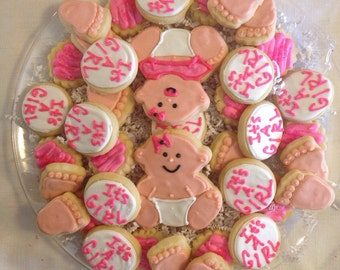 It's a Girl Baby Shower Sugar cookie tray