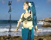 YARN FALL Blue MERMAID Fantasy hair fall 24''/ 60 cm Tribal Fusion Belly Dance hair piece Dreadlocks Larp costume extension Burning Man wig