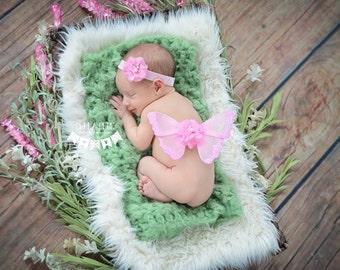 Newborn Wings, Butterfly Wings, Flower Headband, Pink Set, Mini Small, Petite Preemie, Ready To Ship