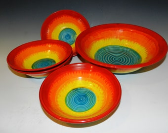 Made to order sunset ocean serving and nesting bowl set for 4