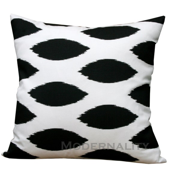 CLEARANCE- Toss Pillows- Premier Prints Black and White Chipper Pillow Cover- 20x20 inches- Zippered Pillow- Ikat Cushion Cover- LAST TWO